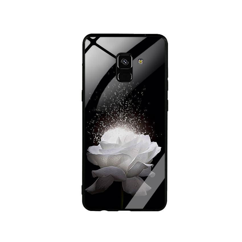 Ốp Lưng Kính Cường Lực cho điện thoại Samsung Galaxy A8 Plus -  0324 ROSE03