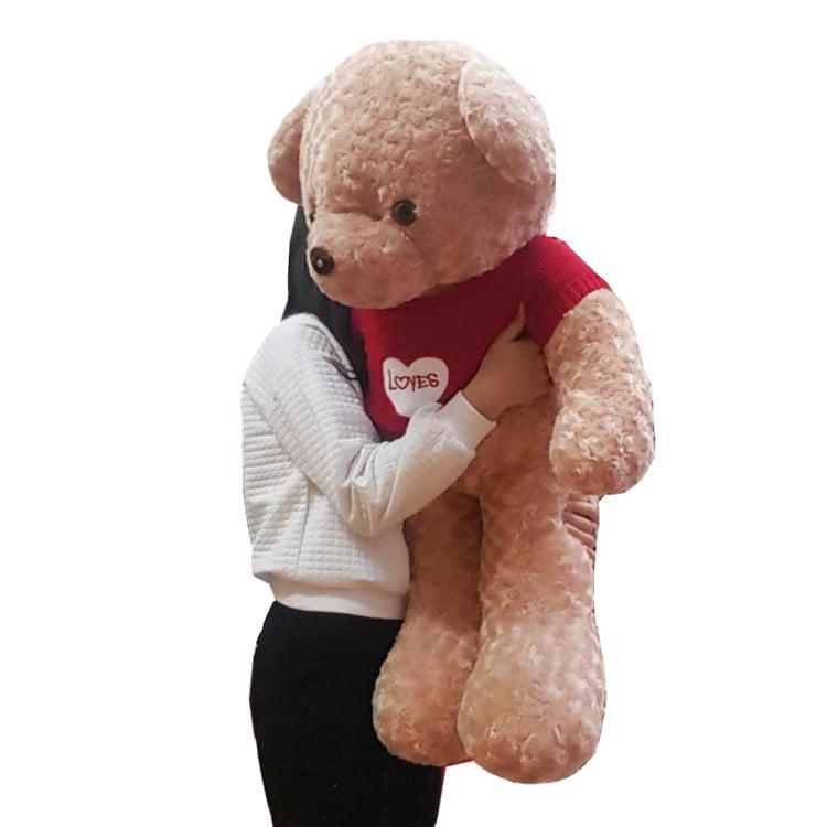 Gấu bông Teddy 1m2 áo tim đỏ xinh xắn đáng yêu - Màu be
