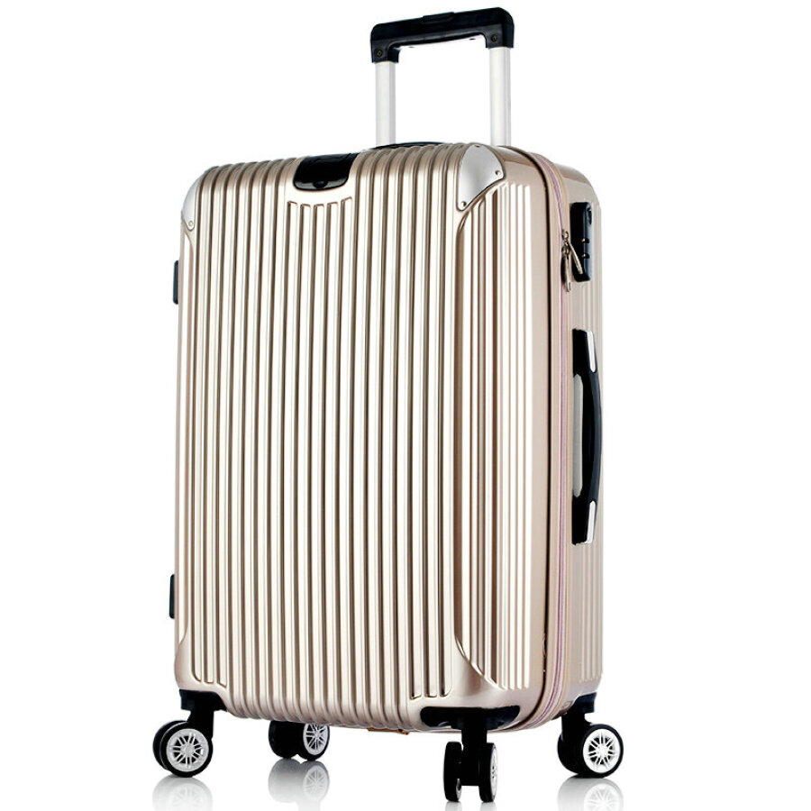 PRNEID aluminum wrap trolley case caster luggage suitcase for men and women boarding chassis 28 inch gold