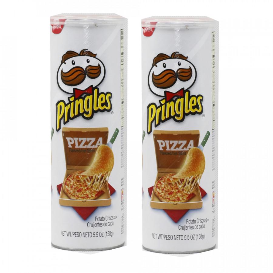 Bộ 2  Khoai tây chiên Pringles  Pizza 158g - Nhập khẩu Mỹ