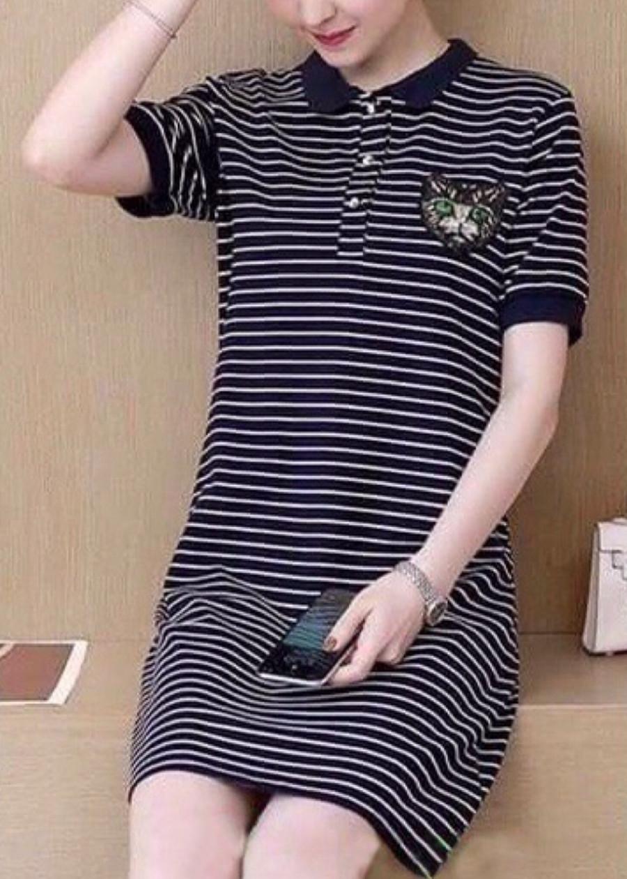 Đầm suông sọc in mèo (size