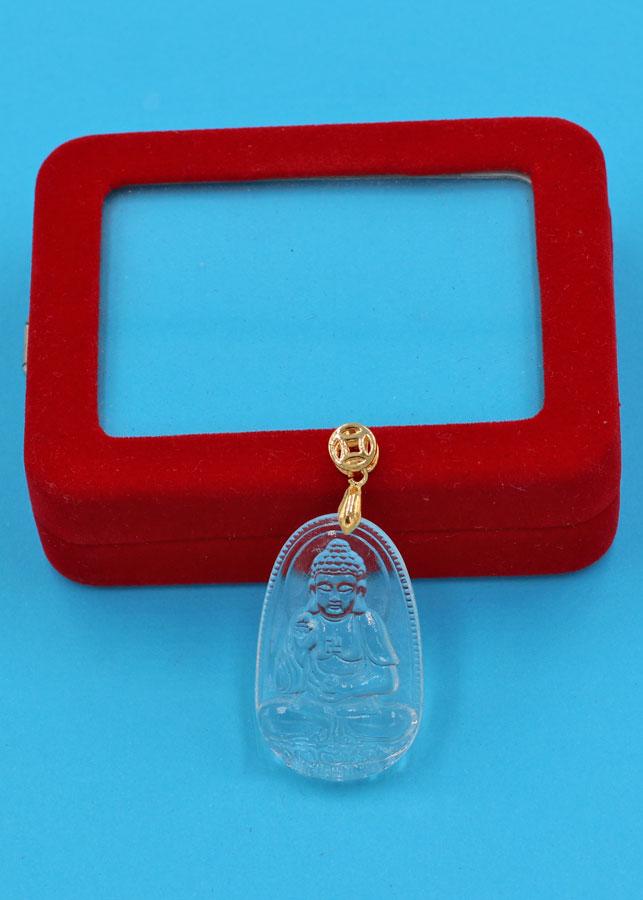 Mặt Phật A Di Đà thủy tinh trong 3.6 cm MFBTT7 kèm hộp nhung - Hợp Mệnh Kim và Mệnh Thủy