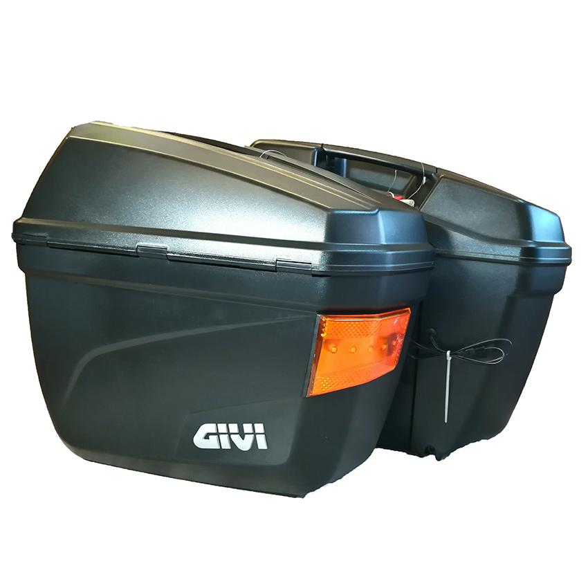 Bộ Thùng Cặp Hông Có Đèn Givi E22NS (22L) Và Baga Givi Sidebag Holder SBL Gắn Thùng