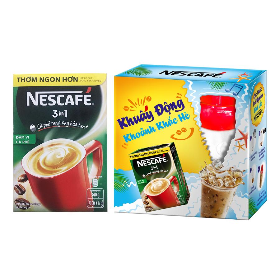 Cà phê NESCAFE 3in1 Đậm Vị Cà Phê (20 gói x 17g) - Tặng 01 Bình Lắc
