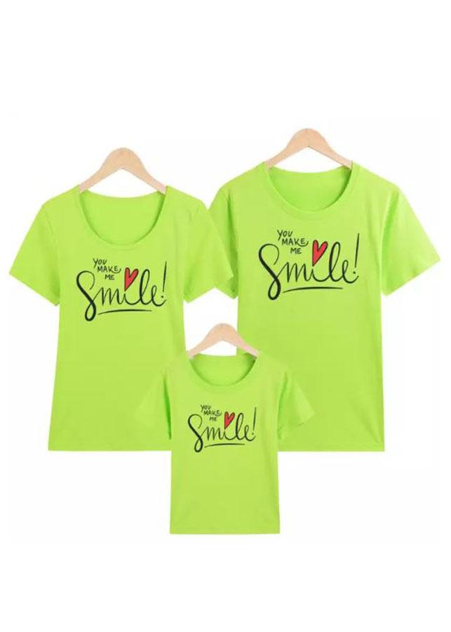 Áo Cho Cả Gia Đình Smile Màu Xanh Lá