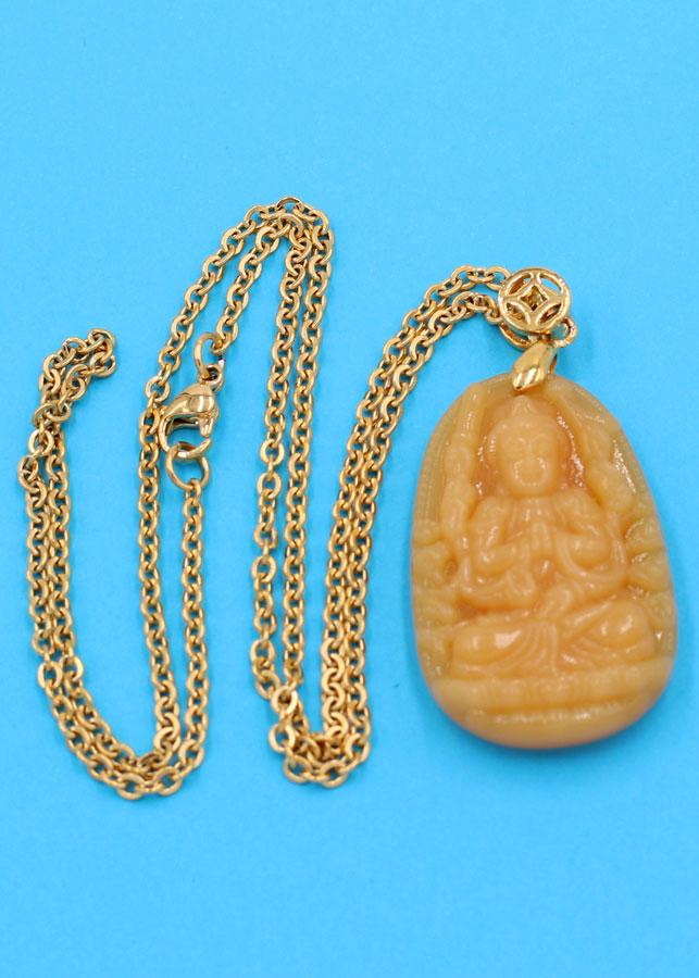 Vòng cổ phật Thiên Thủ Thiên Nhãn - thạch anh vàng 3.6cm DIVTVB8 - dây inox - tuổi Tý