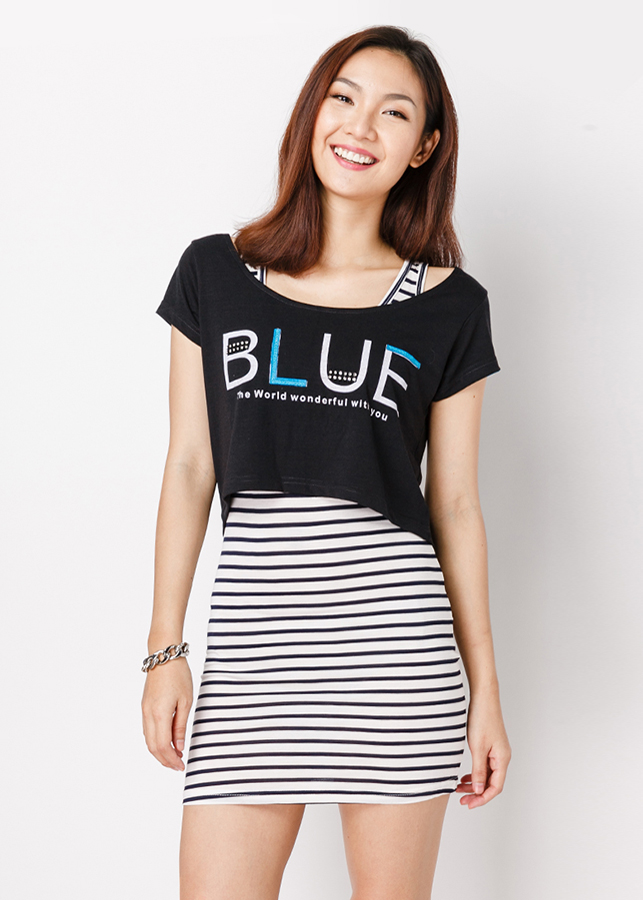Set Đầm + Áo Mullet Blue - Đen - Citino