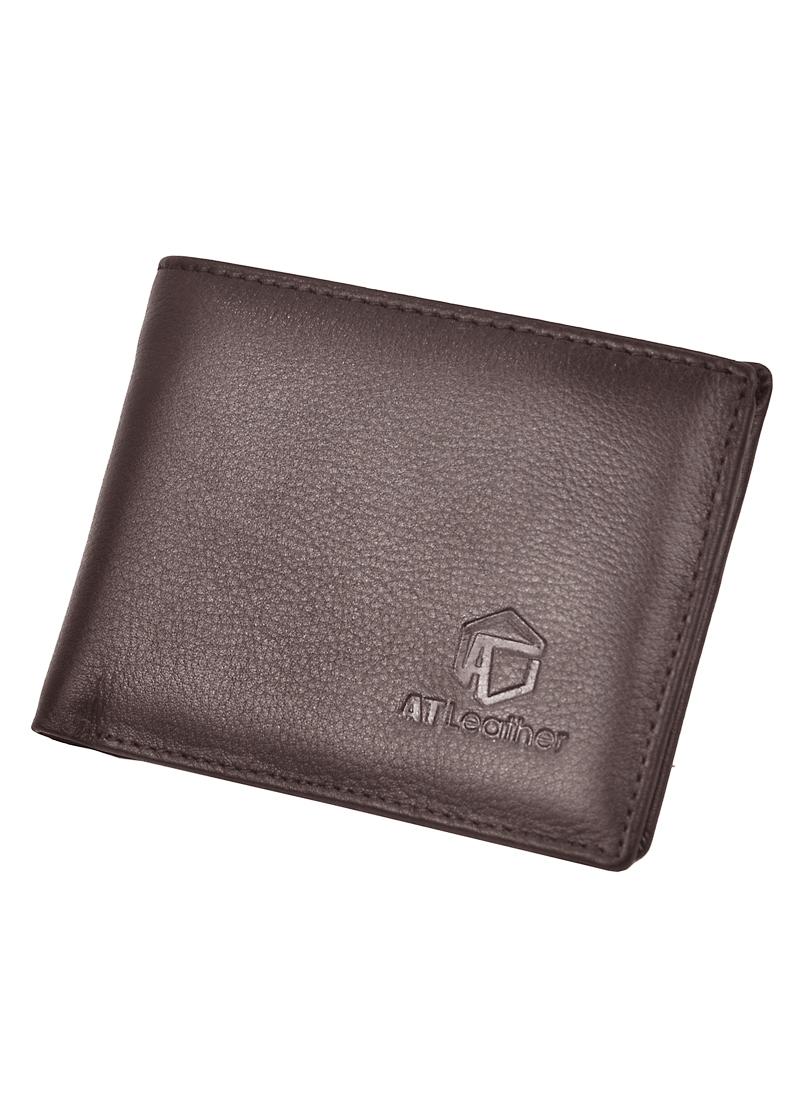 Ví Nam Da Bò AT Leather 056 (10 x 8.5 cm) - Nâu