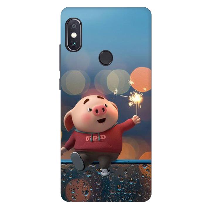 Ốp lưng nhựa cứng nhám dành cho Xiaomi Redmi Note 5 AI DUAL in hình Heo Pháo Bông