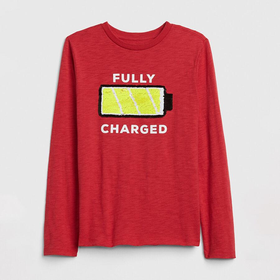 GAP flagship store boy fun pattern long-sleeved T-shirt 399012 red L