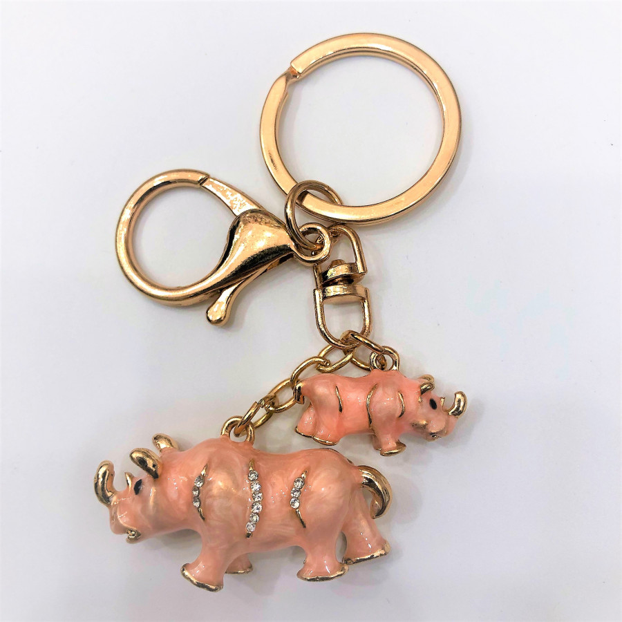 Móc khóa hợp kim cao cấp mô hình 2 mẹ con tê giác sang trọng - màu hồng sữa