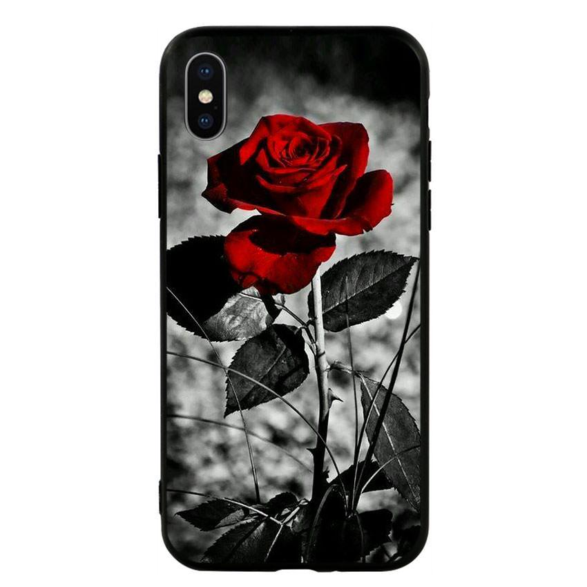 Ốp lưng viền TPU cho điện thoại Iphone X -Rose 08