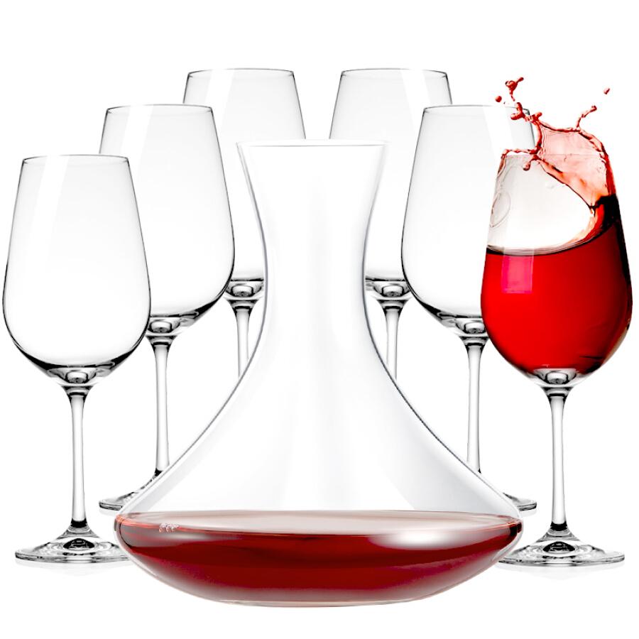Bộ 6 Ly Rượu Pha Lê + 1 Bình Rượu Nhập Khẩu Châu Âu MKSA (450ml + 1520ml)