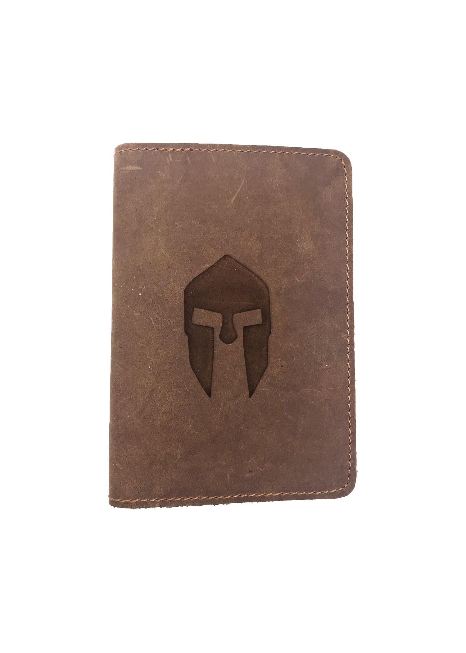 Passport Cover Bao Da Hộ Chiếu Da Sáp Khắc Hình Nón SPARTAN HELMET (BROWN)