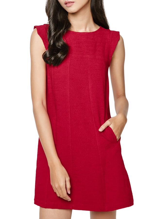 Đầm Dáng A Tay Vuông Hanali - Đỏ