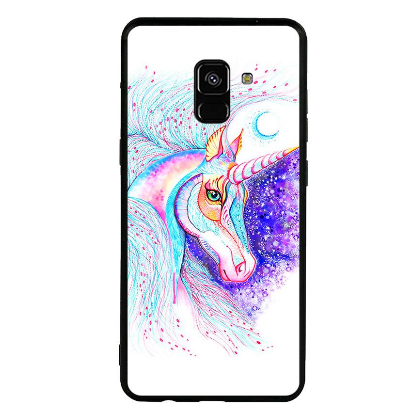Ốp lưng nhựa cứng viền dẻo TPU cho điện thoại Samsung Galaxy A8 Plus 2018 - Horse 01