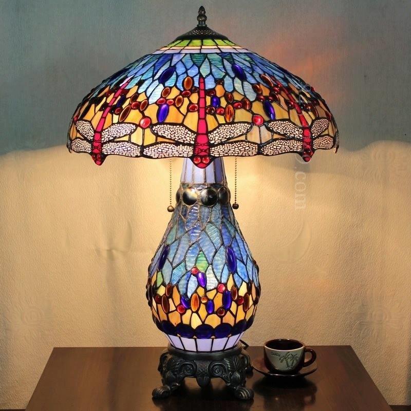 Đèn Tiffany bầu Chuồn Chuồn (Xanh Dương)