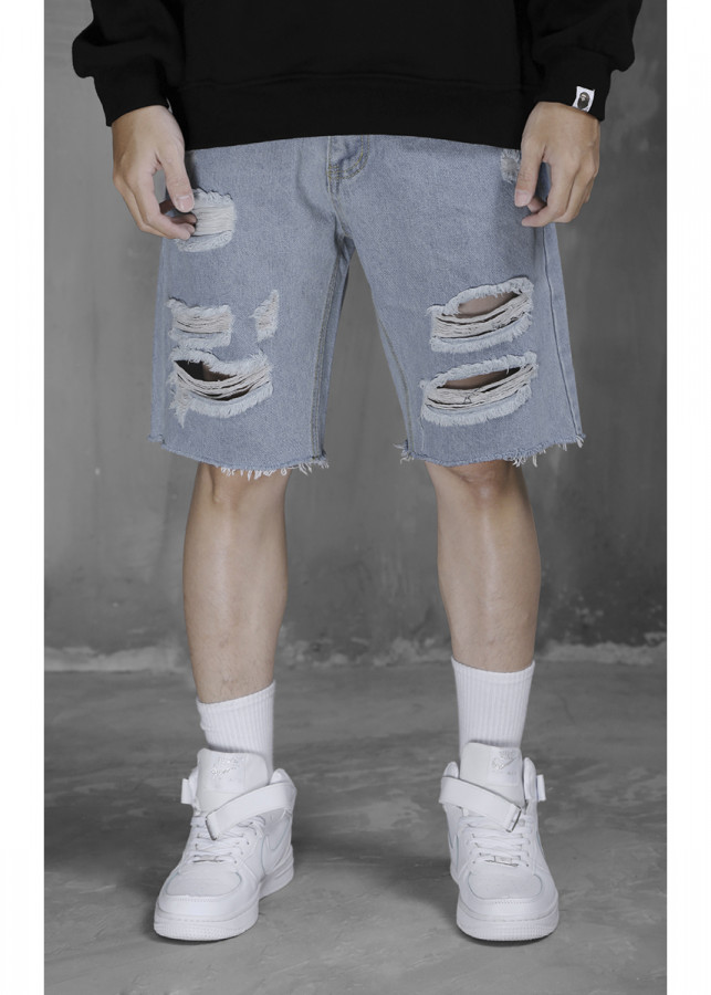 Denim Shorts With Distressing