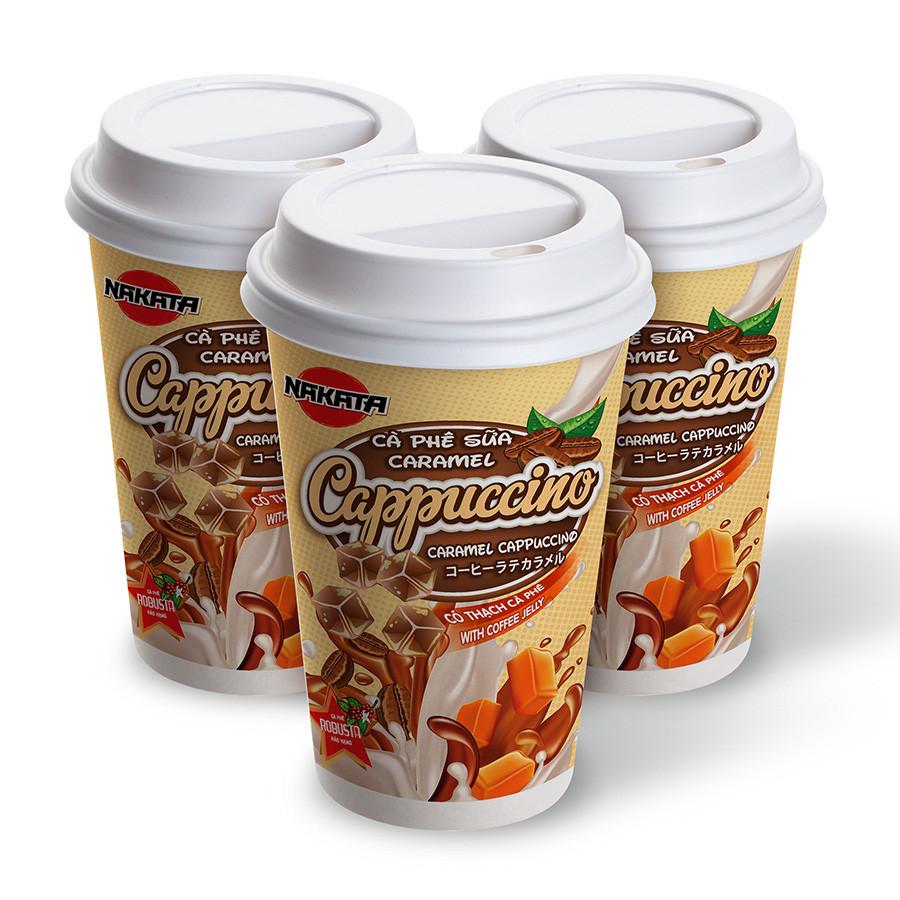 Lốc 3 Ly Cà Phê Sữa Caramel Có Thạch Hiệu Nakata Cappuccino