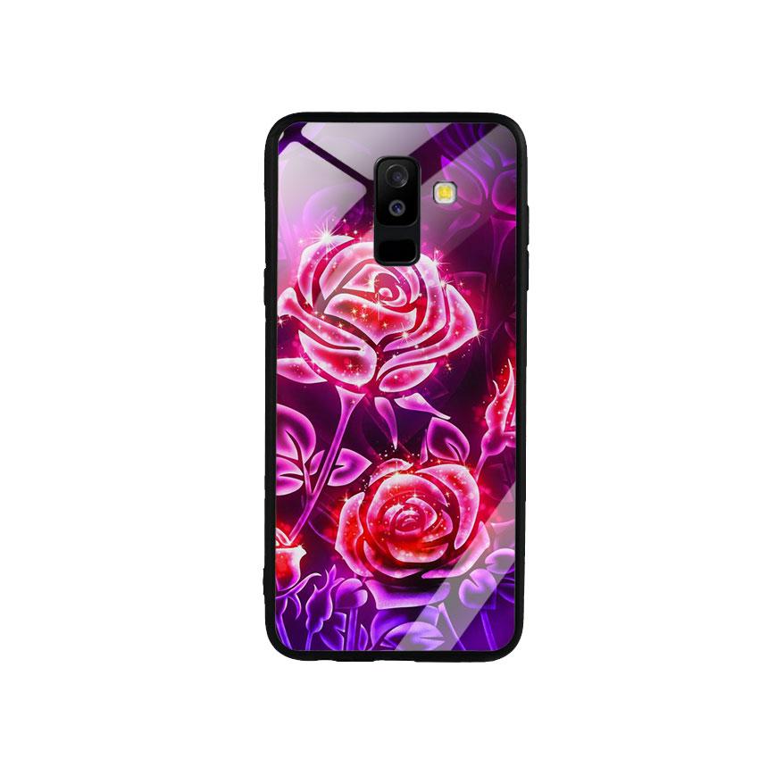 Ốp Lưng Kính Cường Lực cho điện thoại Samsung Galaxy A6 Plus 2018 - Rose