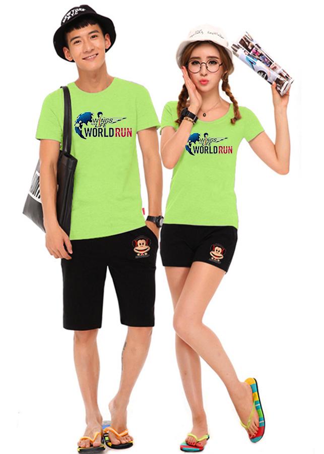 Bộ Áo Thun Đôi Nam Nữ World Run Màu Xanh Chuối