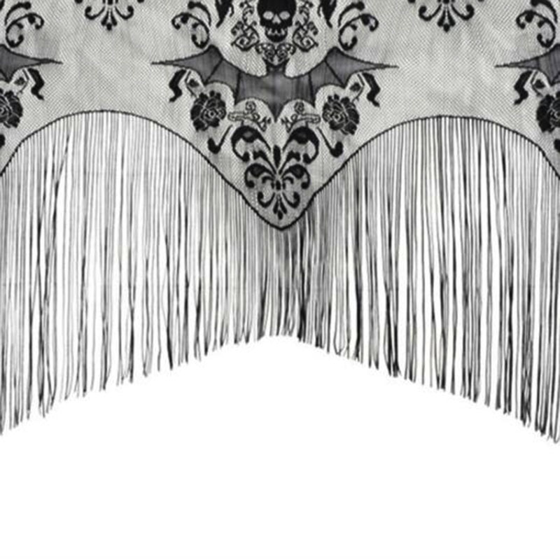 Skull Bat Web Curtain Shawl Halloween Haunted House Decorations Home Tassel