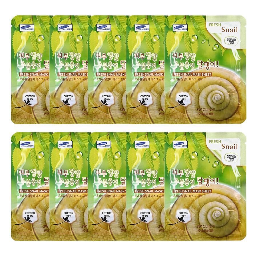 Combo 10 Gói Mặt Nạ Chiết Xuất Ốc Sên 3W Clinic Fresh Snail Mask Sheet (23ml x 10) - 1543422 , 7115436934256 , 62_12622919 , 120000 , Combo-10-Goi-Mat-Na-Chiet-Xuat-Oc-Sen-3W-Clinic-Fresh-Snail-Mask-Sheet-23ml-x-10-62_12622919 , tiki.vn , Combo 10 Gói Mặt Nạ Chiết Xuất Ốc Sên 3W Clinic Fresh Snail Mask Sheet (23ml x 10)