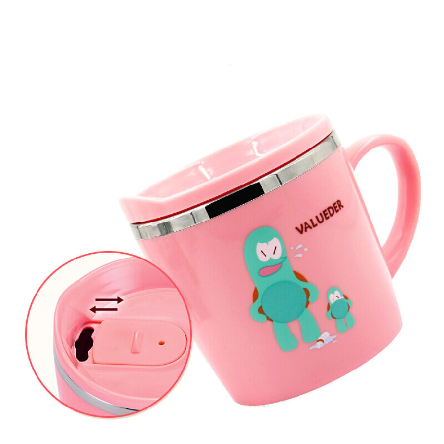Weilundier children's water cup stainless steel household drinking cup baby with lid handle leak-proof drinking cup 210ml pink