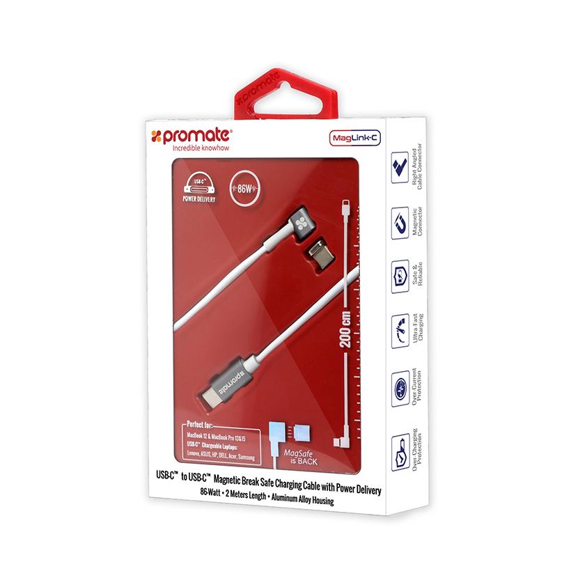 Cáp Chuyển Đổi Promate MagLink-C USB-C Sang Type-C Bẻ Góc 90 Độ 86W 2m - Trắng - Hàng Chính Hãng