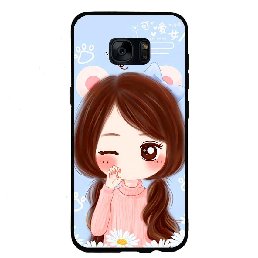Ốp lưng nhựa cứng viền dẻo TPU cho điện thoại Samsung Galaxy S6 -Baby Girl