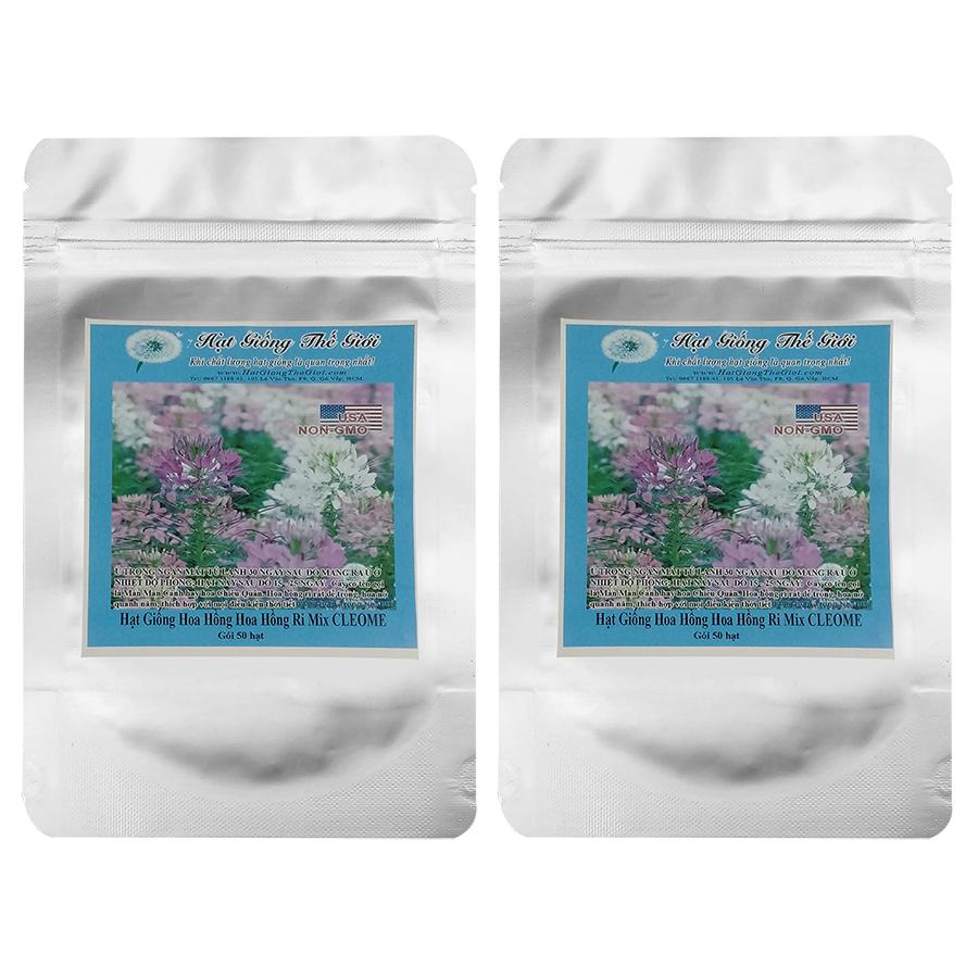 Bộ 2 túi 50h Hạt Giống Hoa Hồng Ri Mix CLEOME