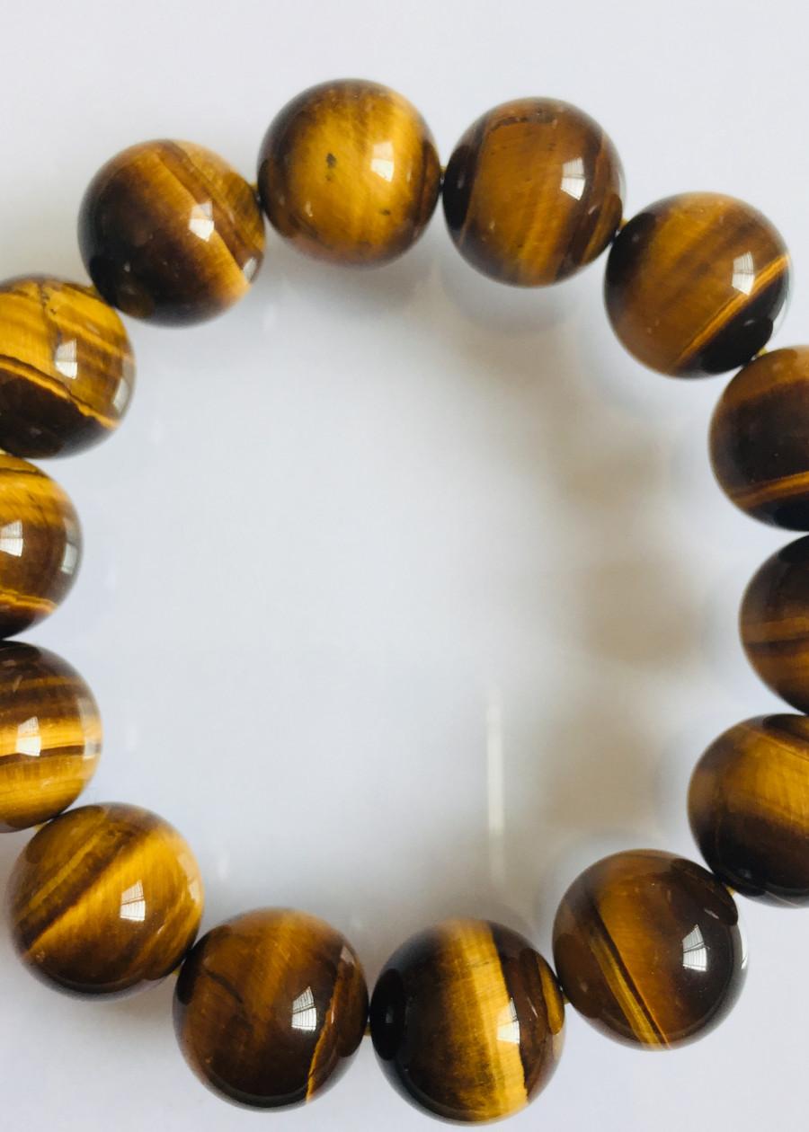 Vòng Tay Đá Mắt Hổ Nâu Vàng 14 ly - NEJA Gemstones
