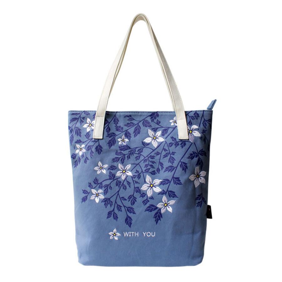 Túi Vải Nữ In Và Thêu Hoa WITH YOU 1606D005  - Xanh Da Trời