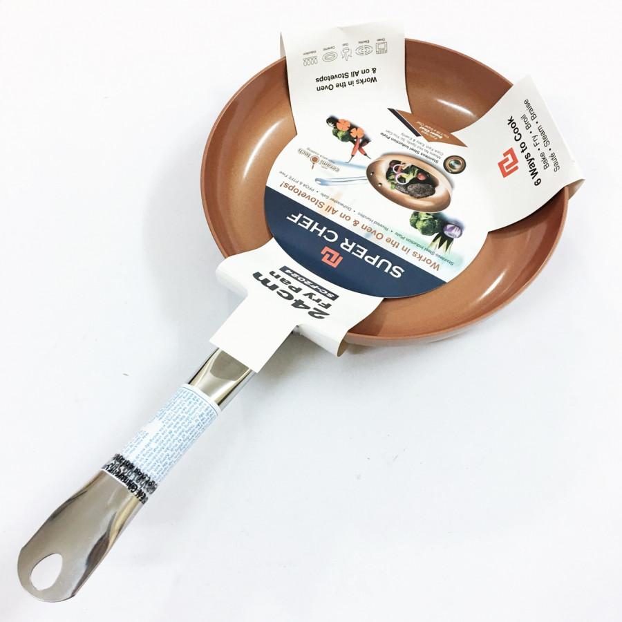 Chảo chiên thực phẩm cao cấp Hợp kim tráng men đáy từ 24cm Tay cầm chống nóng SC_F2024