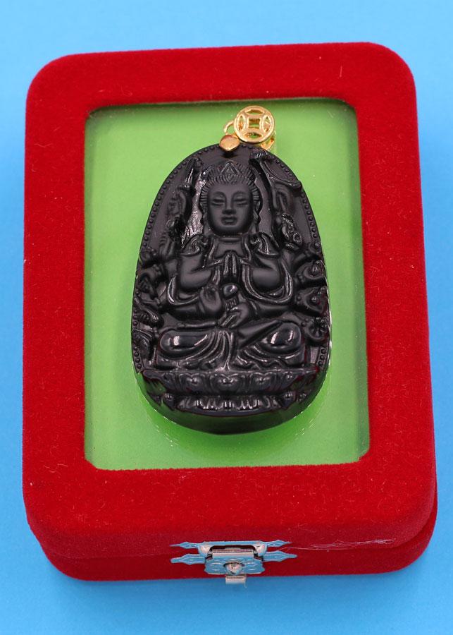 Mặt dây chuyền Phật Quan âm nghìn tay nghìn mắt thạch anh đen 5cm kèm hộp nhung phật bản mệnh tuổi Tý