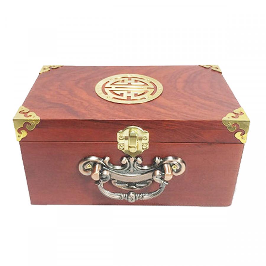 Hộp đựng trang sức - hộp đựng con dấu gỗ hương quai đồng chữ thọ 19cm UK WOOD
