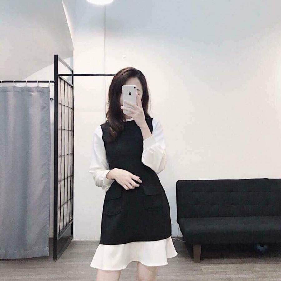 Váy Bầu Đen Phối Trắng Điệu Đà