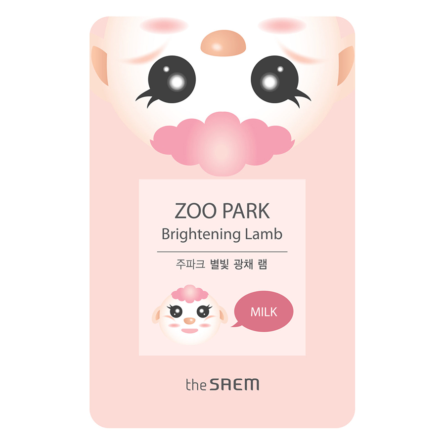 Mặt Nạ Giấy The Saem ZOO PARK Brightening Lamb - milk (25ml)