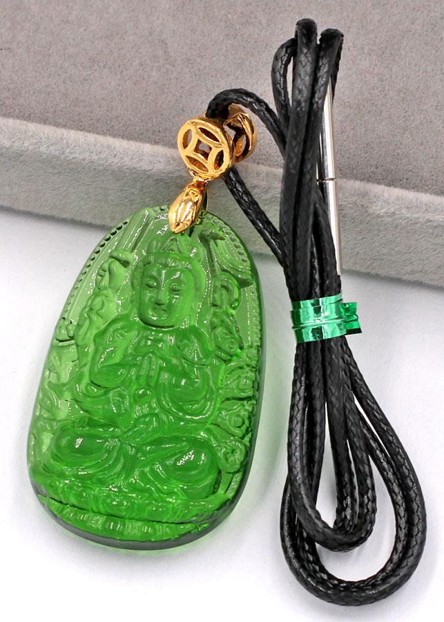 Vòng cổ Thiên Thủ Thiên Nhãn pha lê xanh lá 3.6 cm DFBXL8 - Phật bản mệnh tuổi Tý