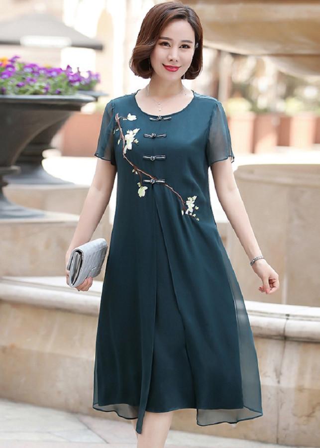 Đầm Trung niên_Váy trung niên_trung niên dự tiệc_đầm suông_HDS006