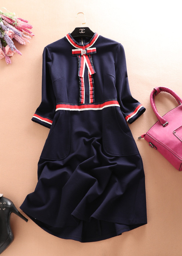 2996988281853 - Váy đầm chữ A nơ đẹp trẻ trung Quảng châu D551