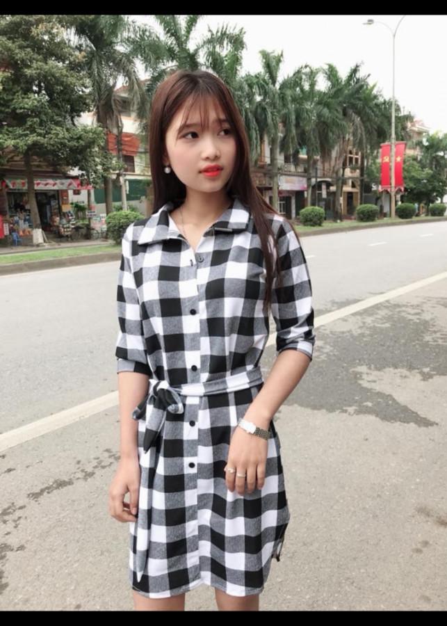 Đầm suông sơ mi cột eo(size