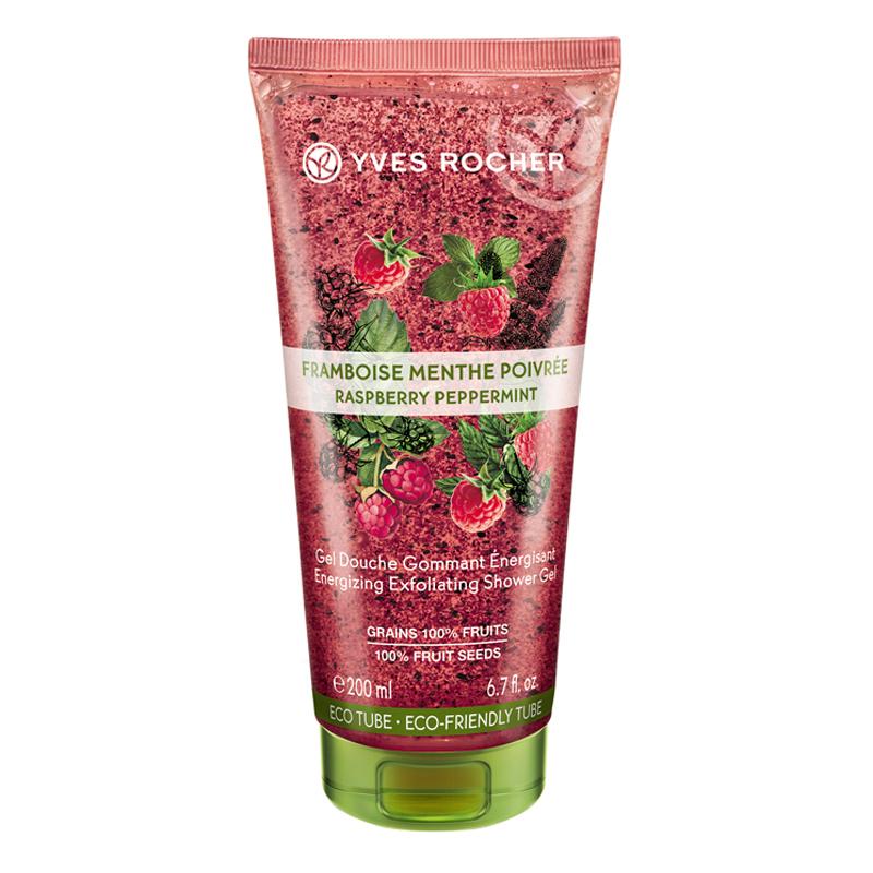 Gel Tắm Tẩy Tế Bào Chết Mâm Xôi Đỏ Và Lá Bạc Hà Yves Rocher Energizing Exfoliating Shower Gel Raspberry Peppermint 200ml