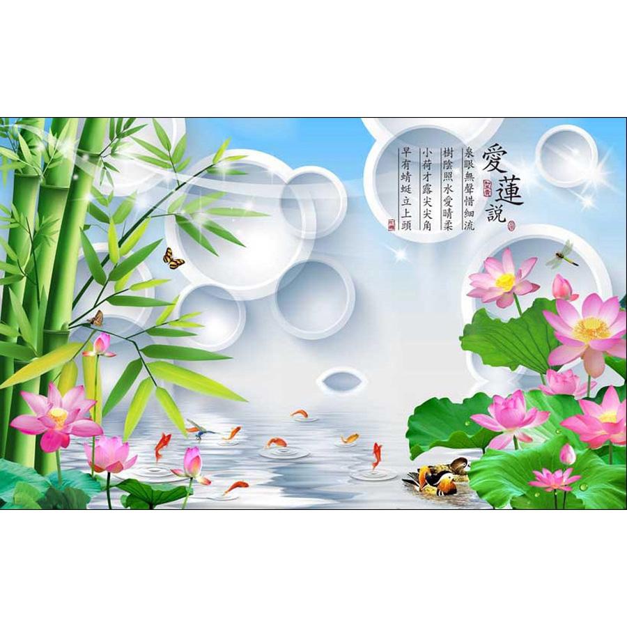 Tranh dán tường 3d | Tranh dán tường phong thủy hoa sen cá chép 3d 345