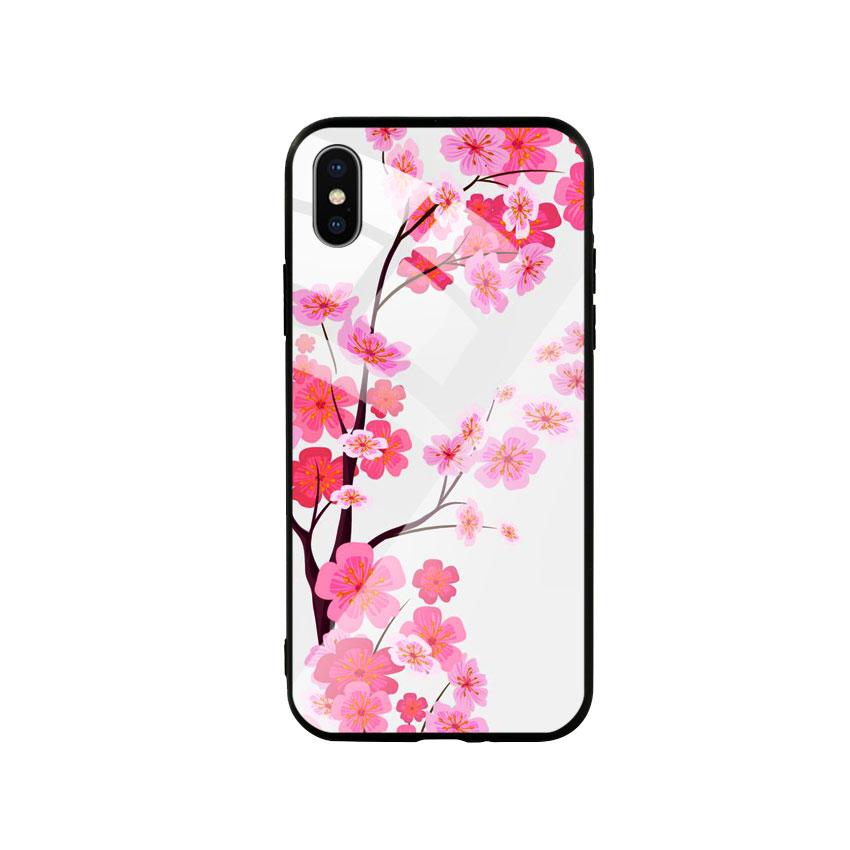 Ốp Lưng Kính Cường Lực cho điện thoại Iphone X / Xs - Cherry Blossom 02