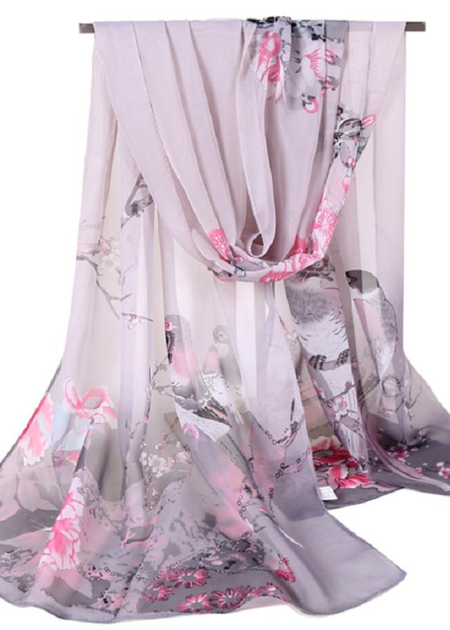 Khăn Choàng Cổ Voan Hoa Họa Tiết Đôi Chim Nhỏ Màu Xanh Ngọc - Voan - 50x155cm - Mã VHXN