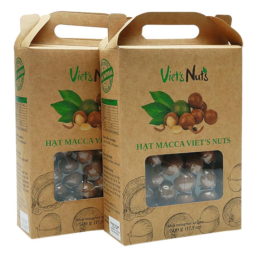 Combo 2 Hộp Hạt Macca Nứt Vỏ Viets Nuts (500g/Hộp)