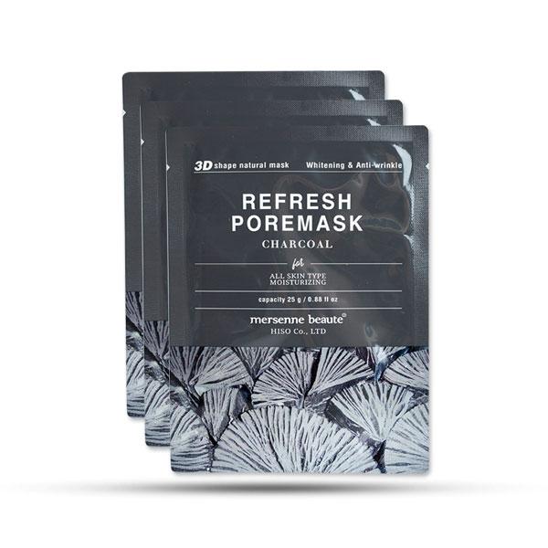 Bộ 10 mặt nạ dưỡng trắng chống nhăn chiết xuất than hoạt tính Mersenne Beaute (25g/miếng)
