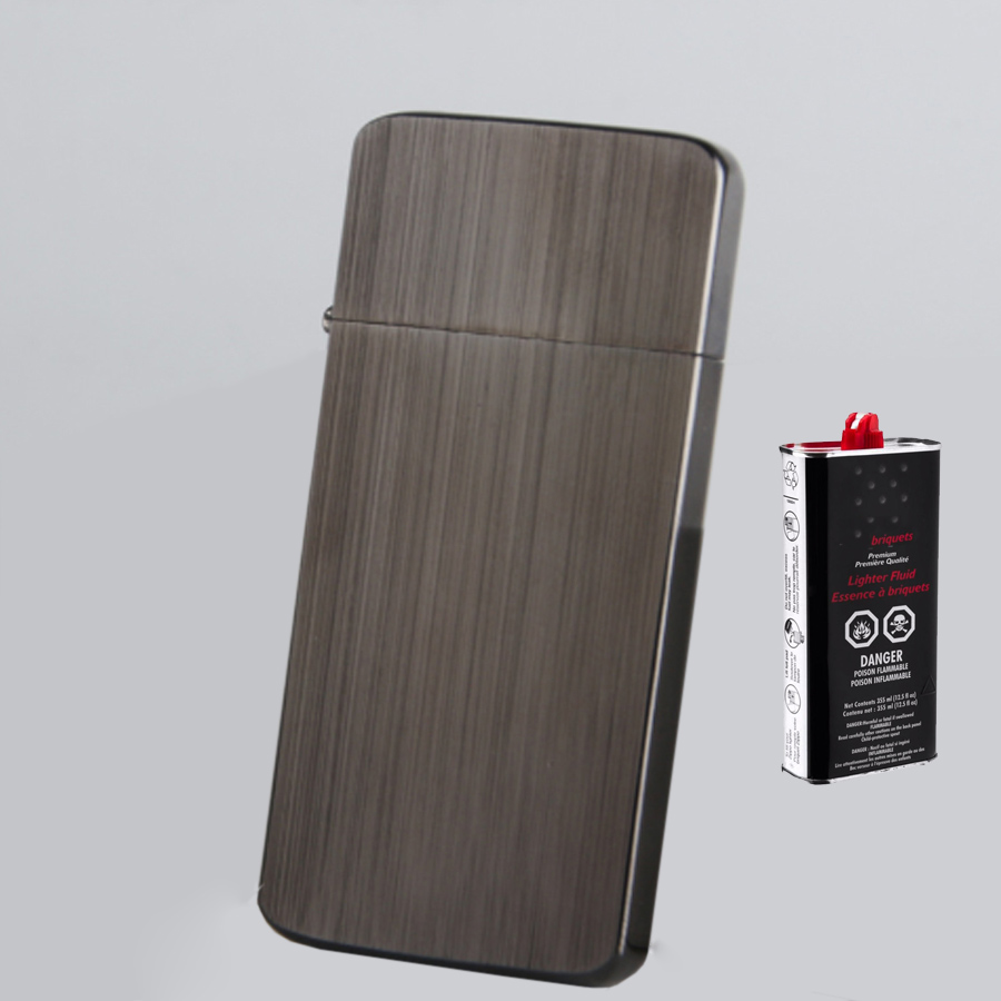 Combo Hộp Quẹt Bật Lửa Xăng Đá KZC5 Siêu Mỏng + Tặng Bình Xăng Chuyên Dụng Cho Bật Lửa (Màu Ngẫu Nhiên)