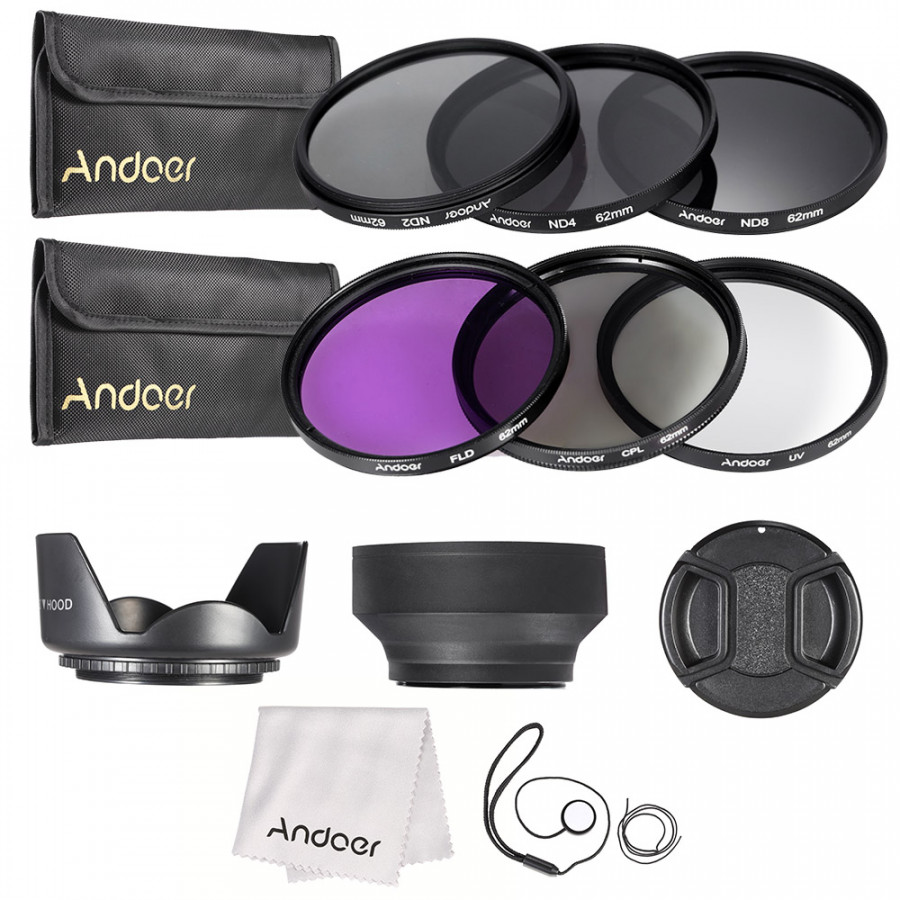 Andoer 62mm Lens Filter Kit UV+CPL+FLD+ND(ND2 ND4 ND8) with Carry Pouch / Lens Cap / Lens Cap Holder / Tulip  Rubber